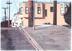 ROBERT BECHTLE《MISSISSIPPI STREET INTERSECTION》2007, ED 25, 66 x 81.9 cm, color direct gravure with spit bite aquatint