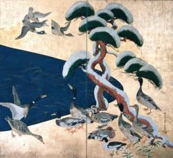 尾形光琳 雪松群禽図屏風 江戸時代中期