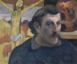 ポール・ゴーガン 「黄色いキリスト」のある自画像 1890-1891年 油彩/カンヴァス © RMN-Grand Palais (musée d'Orsay) / René-Gabriel Ojéda / distributed by AMF