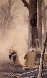 川合玉堂 焚火 1903年 絹本・彩色 後藤美術館所蔵 (後期展示予定)