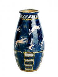 アンドレ・メテ 《卵型花瓶 幾何学模様と野兎》 1910-11年頃 高さ18cm 施釉陶器 ブロ・コレクション