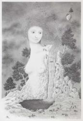 「ケモノの棲む庭(晩夏)」シャープペンシル・紙 42.5×62.8㎝