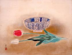 小林古径鉢花1953(昭和28)年紙本・彩色山種美術館収蔵