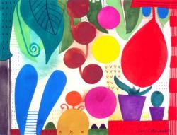 「ガーデン・キッチン」2001  アクリル、紙25.1x32.5cm
