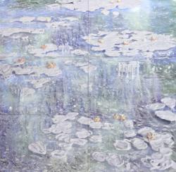 「WATER LILIES」 2013-2014年 ポリコートパネル、印画紙、樹脂、パールペイント、ラメ、インタリオ・オン・フォト 189×194cm