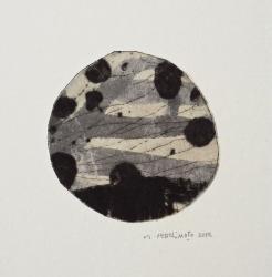 「浅き眠りに」ドライポント・モノタイプ  和紙・墨・インク 2012年 6.8 × 6.8 cm