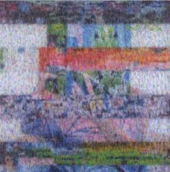 石井友人  複眼 (block noise image) 2010, oil on canvas 150x150cm (αM 2011/1/15-2/19)