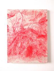 No.25 (Real/Red)キャンヴァスに和紙、アクリルメ  ディウム、岩絵具、水彩  等 45.5x33.3cm  Tomoo Seki