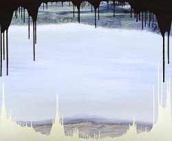 西川 茂「Daisen+Oizumi」 2011年 1450×1760mm / oil, beeswax on hemp, panel
