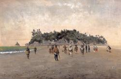 高橋由一 <江の島図> 1876-1877, Oil on canvas