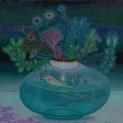 """"""" ハジマリノザワザワ"""" 2010 年 Oil on canvas 145.5 x 145.5cm ©Saori Ono"""