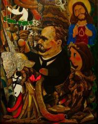 """榎本耕一  """"騎士とSHIT悪魔"""" 2010, oil on canvas 145 x112 cm"""