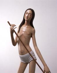 少女(部分) 2011 樟材の一木造りに彩色、銅パイプ 181.5×105×78cm 撮影:宮島径 (c) TANADA Koji Courtesy Mizuma Art Gallery