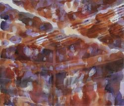 新保正子 作品タイトル:養蚕棟 素材:アクリル、染料、綿布 サイズ:53 x 45.5 cm