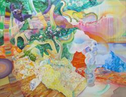 秋山幸 Attendant of travel Acrylic,Oil on canvas 2011 112 x 145.5 cm