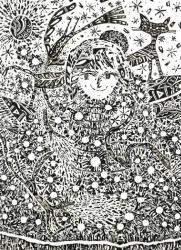 淺井裕介 「標本・森街」 2010年 h.109 × w.79 cm 紙にペン、マスキングテープ ※アルティアム個展「shopping」(2010 年)で制作したマスキングプラント 撮影:渡邉郁弘