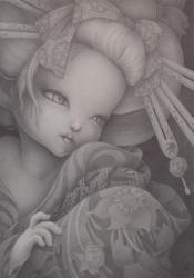 前田さつき 「乾かぬ花」 2011 ボールペン、イラストレーションボード 36.4×25.7cm