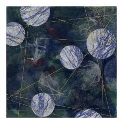 伊藤あずさ 「藍色の風景-兆し.Ⅳ-」(12×12)cm 版画.和紙によるコラージュ
