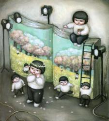 小林美樹/舞台/2009/油彩/23.5x21.0cm