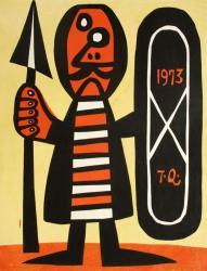 浅野竹二 木版 「矛盾」1973年