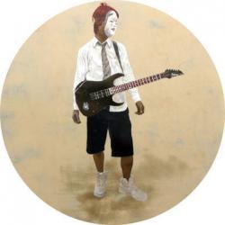 永井優 LOVE!!!! 顔料、カシュー、綿布、パネル 122 x 122 cm 2011