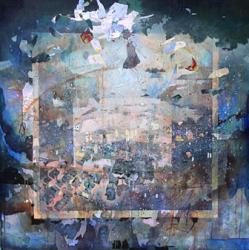 大槻香奈 「夢を待つ街」 2012年 1,000×1,000mm ケント紙にコラージュ、アクリル、鉛筆 プラスチック、マーカー