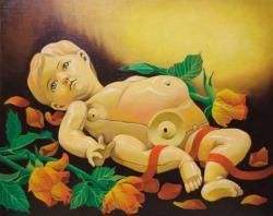 はやしすみこ 油彩画「再生の時を待つ」2013年 (今回個展のDMメインイメージ)