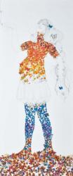 「想像妊娠」 (2012年) 佐藤岐夜美 / 203×88cm / アルミ板、パネル、塗装、鉛筆、シール