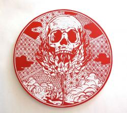 "横野健一 ""vanitas _burning skull and flower (picture plate)"" 2013 30x30cm Painted woodcut"