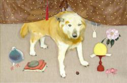 栗田咲子 お摩り犬 / 100.1×65.4cm / キャンバスに油彩