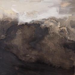 増田沙織 「人の風景」2014年製作、素材 パネル,青墨,蛍石,岩絵具,膠