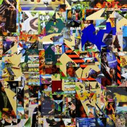 金氏徹平 《Ghost in the Liquid Room (lenticular) #1》 2012年 レンチキュラー、反射シート、木 180×180 cm Courtesy: ShugoArts, Tokyo