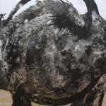 BanTian(坂田恭平) 「分神#28」2015 162×162cm 綿布、顔料、アルミ箔、ラッカー、墨