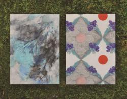 左:若林静香「空に」 右:中尾美園「ムラサキツユクサと日輪」
