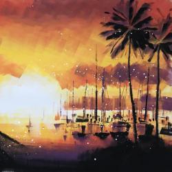 Harbor H146×W146cm キャンバスにアクリル