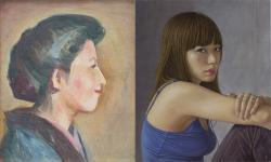 左|佐伯祐三 《米子像》 1922年頃 油彩、キャンバス 448×370mm(8号)   右|寺林武洋 《声》 2009 油彩、白亜地、パネル 455×380mm(F8)