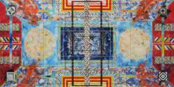 《触覚》 2019 油彩、アクリルラッカースプレー、キャンバス 1940×3880mm
