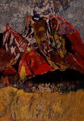 《火山(浅間山)》 1965年 紙本着彩 額装 神奈川県立近代美術館蔵