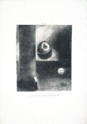 オディロン・ルドン 『ゴヤ頌』 《4…胎児のような存在もいた》 1885年 リトグラフ、紙 神奈川県立近代美術館蔵