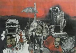 山下菊二 無題 1982年 コラージュ 33.2 x 47.5 cm