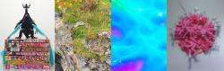 左から世良郎二「ミクガメアシュラ」2017、辻川奈美「黒い鳥と少女」部分2017、小川剛「Liquid prism2」2017 、戸泉恵徳「PINKS 03」2015