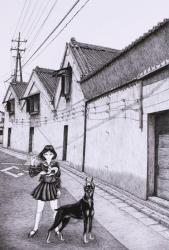 「かえり道」 560mm × 375mm, 黒インク,ケント紙, 2021年