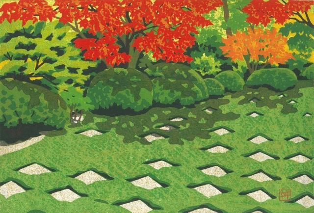 井堂雅夫「市松の庭」多色摺木版画