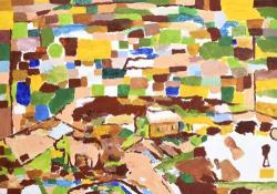 「風景 -家、馬、古墳-」 素材:油彩、キャンバス サイズ:455×652(mm) 制作年:2018年
