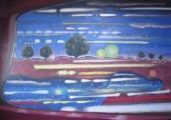 「-光の戯れ-「車窓」」 素材:キャンバスに水可溶性油絵具 サイズ: 1303mm×1940mm(F120) 制作年:2020年