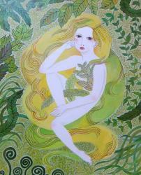 "Nami Aida ""森の娘""  acrylic on paper / 515×728mm / 2019"