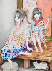 姉さんと私(髪結い)F-4 333x242mm Watercolor on Paper 2020