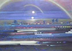 『-光の戯れ-「車窓から」』 素材:キャンバスに水可溶性油絵具、テンペラ  サイズ:72cm×91cm  制作年:2019年