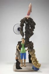 「骨まで毛だらけ」2012-203年 木(楠、ベニヤ)、紙、色鉛筆、墨汁、アクリル、鉄、ステンレス h 210 x w. 85 x d 90 cm
