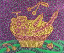 草間 彌生「果物かご(3)」 1999 年 シルクスクリーン・ラメ ED.60